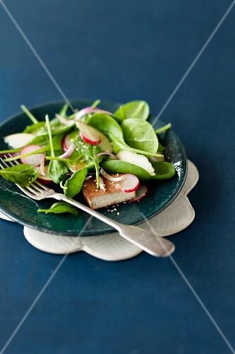 Spinatsalat mit Radieschen und Tofu