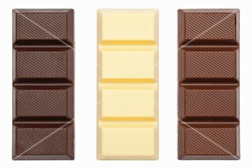 Bars of chocolate: dark, white and milk