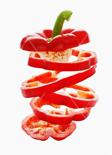 Sliced red peppers