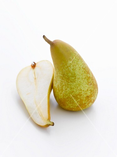 Whole pear and half a pear