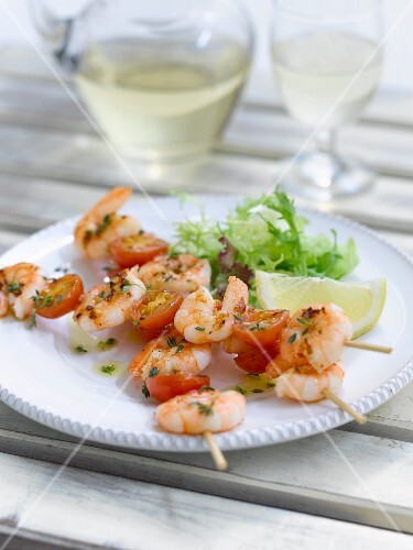 Prawn kebabs with cherry tomatoes