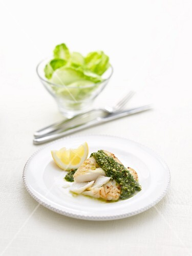 Cod with pesto and lemon