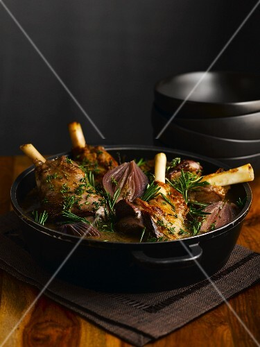 Braised leg of lamb with onions and rosemary