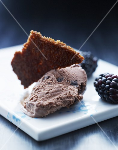 Chocolate and blackberry ice cream