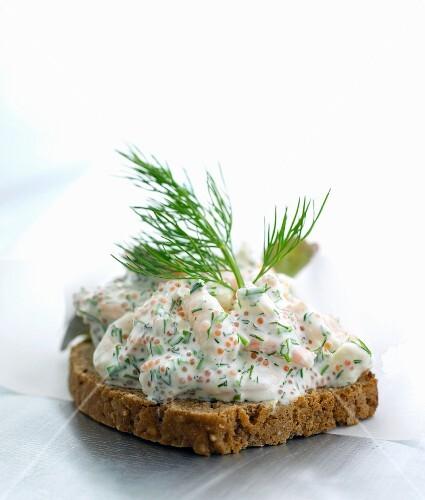 Smörrebröd topped with shrimp salad (Denmark)