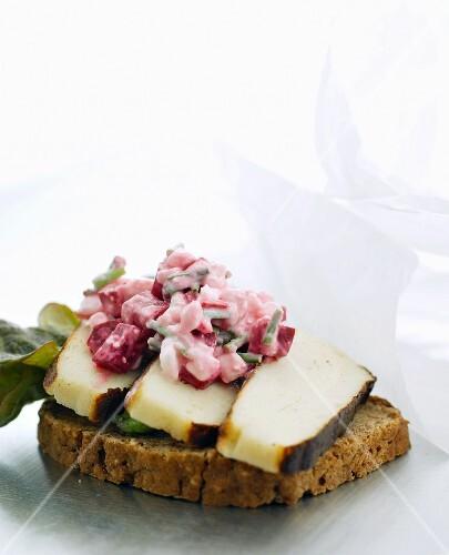 Smörrebröd with smoked cheese (Denmark)