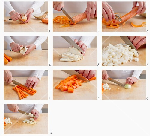 Carrots, celeriac and onions being chopped