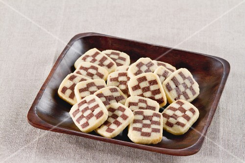 Assorted biscuits made with chocolate and plain mixture
