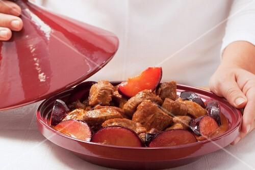 Lamb tajine with plums
