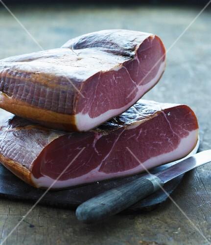 Two raw hams