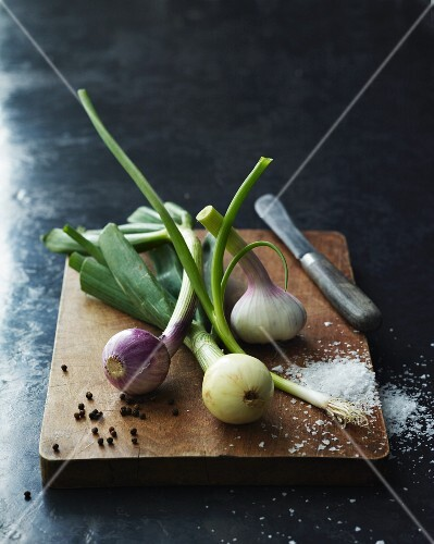 Spring onions, garlic, salt and pepper on a wooden board