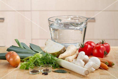 Ingredients for vegetable stock