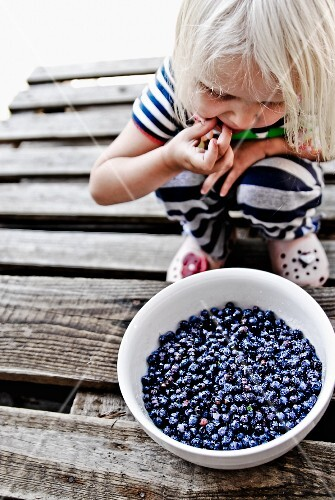A child crouching in front of a bowl of fresh blueberries
