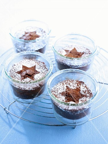 Chocolate cake in jars decorated with stars