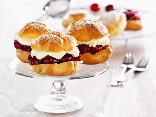 Profiteroles filled with cherries and cream