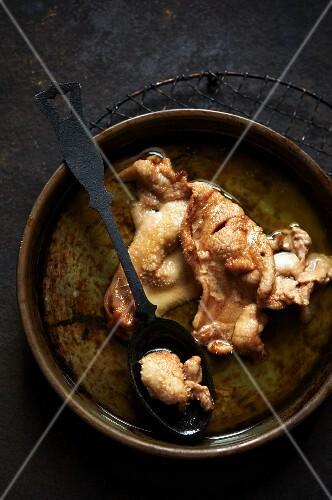 Rendering Duck Fat in a Pan