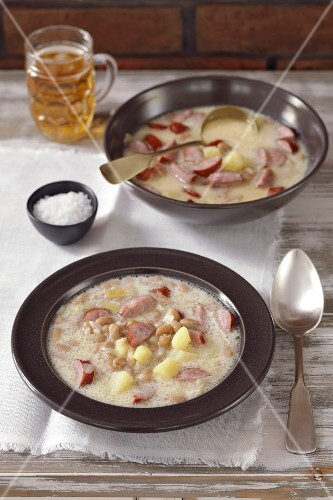 Bean soup with potatoes, bacon and milk (Slovenia)