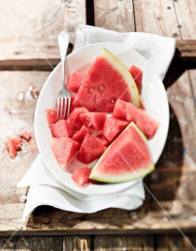 Watermelon pieces on a plate