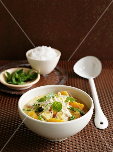 Red curry with squash and chicken