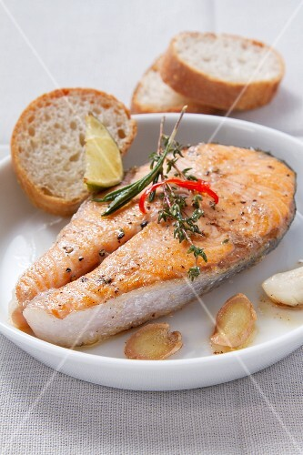 Fried salmon steak