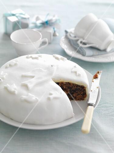 Fruit cake with white icing