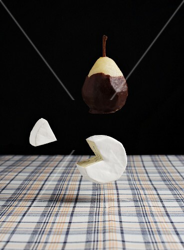 A chocolate pear and cheese