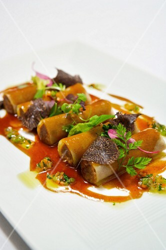 Potato Wrapped Cannelloni with Braised Beef Filling, Red Wine Sauce and Truffle Mushrooms