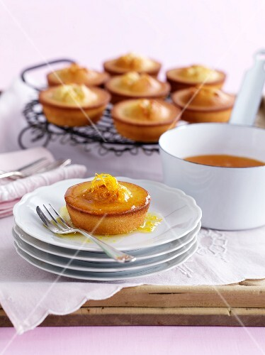 Friands (Australian almond cakes) with orange sauce