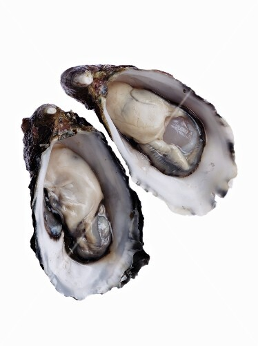 Two halved oysters