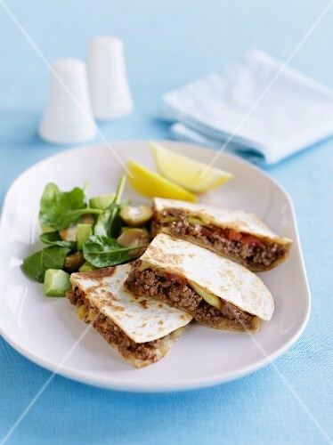 Quesadillas with minced meat and a side salad