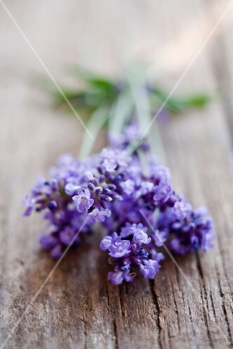 A bunch of lavender on a wooden surface