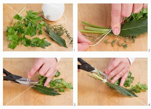 Making bouquet garni