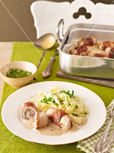 Veal roulade wrapped in ham