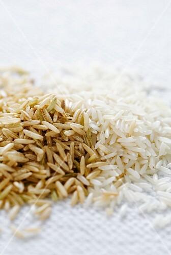Brown and white basmati rice
