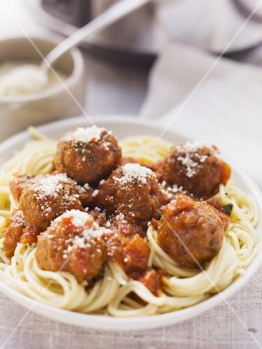 Spaghetti and meatballs with marinara sauce