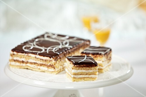 Buttercream sponge cake with chocolate icing