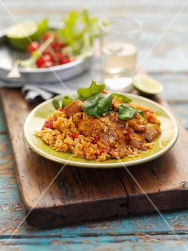 Tandoori chicken with rice