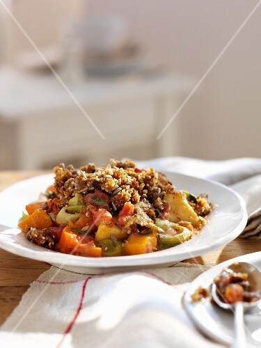 Roasted vegetables with a nut crust