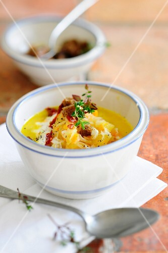 Cream of carrot soup with sauerkraut and croutons