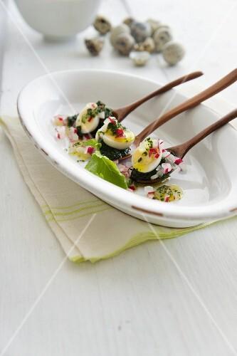 Quail eggs with radishes and wild garlic pesto