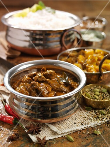 Beef curry with spices and rice (India)