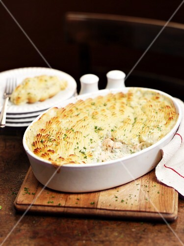 Fish pie in the baking dish