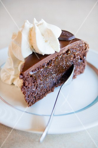 A piece of Sachertorte (chocolate cake)