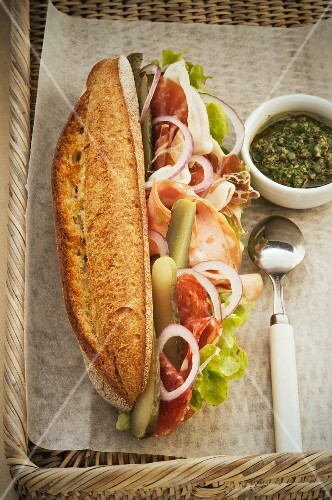 Sandwich with salami, ham, mortadella and tuna fish mayonnaise