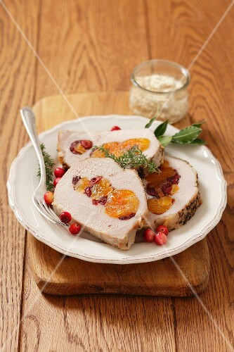 Stuffed roast pork with dried apricots and cranberries