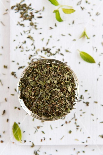 Dried mint in a glass