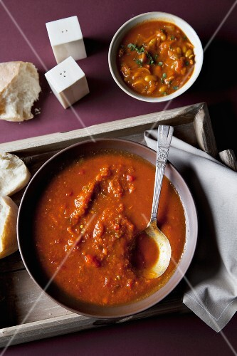 Spicy tomato soup with chakalaka