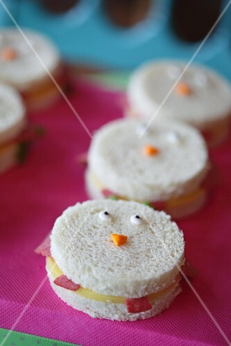 Ham and cheese face sandwiches