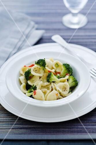 Orecchiette pasta with broccoli, garlic and chillis