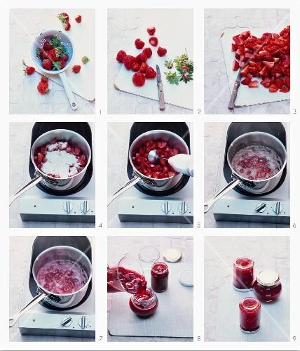Strawberry jam being prepared